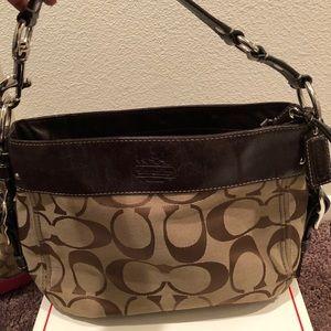 Coach Zoe Signature shoulder leather hobo bag
